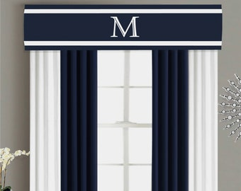 Valance Cornice Board Pelmet Box Window Treatment in Navy Blue with White Trim and Monogram - Custom Valance Curtain Topper