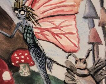 Mermaid Fairy Fantasy Watercolour Painting - Original Weird Whimsical Artwork Cute Fairytale Nature Art Toadstools Faerie Hippie Forest