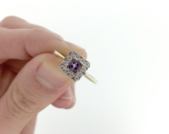 Vintage Amethyst Art Deco Diamond Halo Engagement Ring