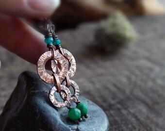 Gift for woman Long agate earrings copper earrings Green stone Earrings  statement earrings casual jewelry Boho Gypsy earrings