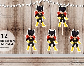 Superhero Villain Girl Party - Set of 12 Batgirl Inspired Double Sided Cupcake Toppers