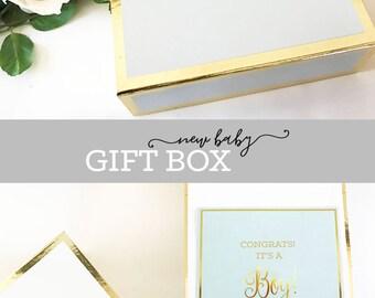 Baby Shower Gift Boy Baby Shower Gift Box New Baby Boy Gift Basket Baby Gifts for Boys Baby Gift Set Box Only (EB3171BBY) EMPTY BOX w/name