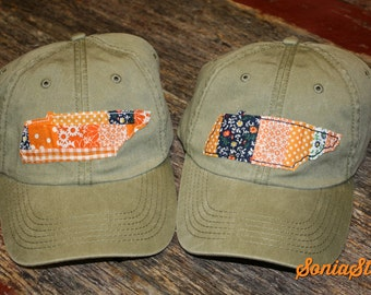 Patchwork Tennessee Cap - Pigment Dyed Tennessee Cap - Tennessee Love - Patchwork applique cap