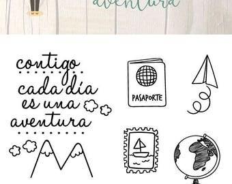 Sello Acrílico para Scrapbooking AVENTURA Español