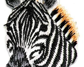 Beautiful Zebra Head Iron On Patch Zebra Wildlfie Iron on Zebra by Cedar Creek Patch Shop