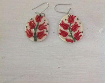 Red tulip earrings...ceramic.....drop/dangle style