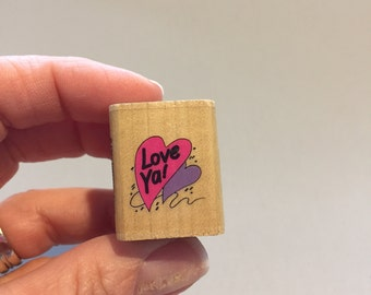 HEART STAMP, small heart stamp, Valentine's Day stamp, love ya stamp, little heart stamp, tiny heart stamp, arts and crafts supply, vintage
