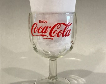 COCA COLA GLASS, Vintage Cokie glass, thumbprint goblet, Coke Thumbprint goblet, vintage barware, retro barware, soda fountain glass, gift