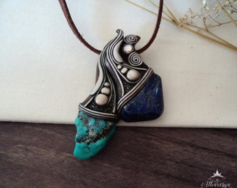 Moon glow necklace with Lapis and turquoise