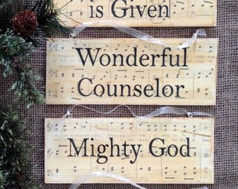 For Unto Us Is Born Scripture Wood Plaque Ornaments, Isaiah 9:6, Set of 6, Birth of Jesus, Ornaments, Christ-Centered Christmas