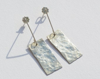 Hammered Silver Sheet Earrings