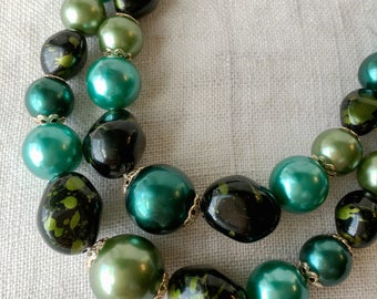 CLEARANCE Vintage Green Graduated Necklace, 2 Strand, Faux Stone, Faux Pearl, KC086