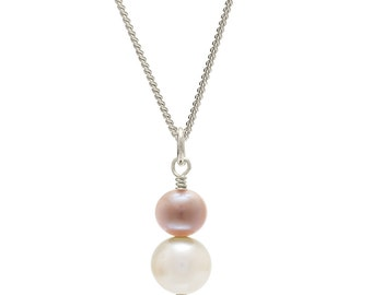 Pink Pearl Pendant | Pink and Cream Pearl Pendant | Double Pearl Pendant | Pearl Drop Pendant | Freshwater Pearl Pendant Necklace