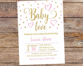 Pink and Gold  Baby Shower Invitations. Baby Love Shower, Pink and Gold Confetti Invite. Baby Girl Shower. Digital file.