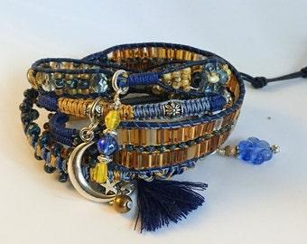 STARRY NIGHT, Beaded Wrap Bracelet, Beaded Leather Bracelet, Hippie Jewelry, Leather Wrap Bracelet, Stackable Bracelets, Boho Bracelet, OOAK