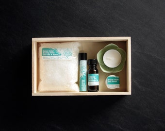 FEATURED ON BUZZFEED= Stress Box- A Mini Spa Break for Your Everyday Life: Dead Sea Salts, REMedy Massage Oil, Anti-Anxiety Roll-on, Candle