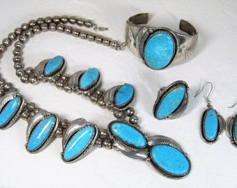 Vintage Sterling Navajo Turquoise Jewelry Set
