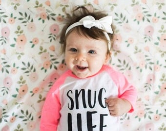 Snug Life Infant Tee // Baby Shower Gift // Unisex Gift // Funny Baby Gift // Hipster Baby // The Busy Bee // Black Sleeves