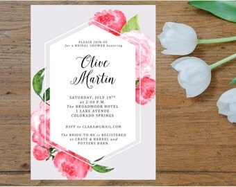 Floral Modern Bridal Shower Invitation Printable, Pink Peony, Pink Peonies, Hexagon, Invitation Template, Shower Invite, Pink Flowers