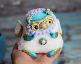owl art doll collection ooak bird plush toy griffin art doll magic creature figurine griffin sculpture