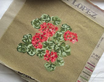 Tapestry cushion, picture, seat pad project, to complete, compled floral tapestry, geraniums