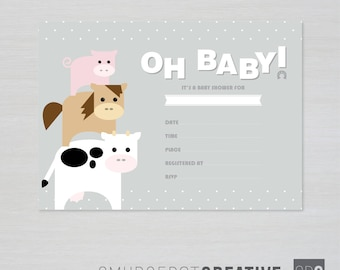 Printable Farm Baby Shower Invitation - Instant Download for DIY Printing