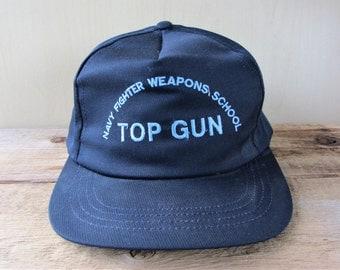 TOP GUN Navy Fighter Weapons School Vintage 80s US Navy Air Force Snapback Hat Adjustable Baseball Cap Embroidered Ballcap