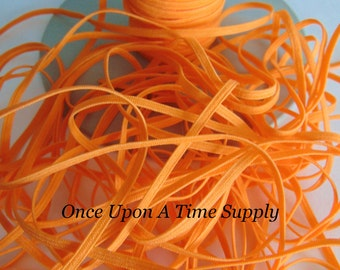 Orange Skinny Elastic for Baby Headbands - Choice of up to 5 Yards of 1/8 inch DIY Craft Embellishment - Solid Color Elastic By The Yard