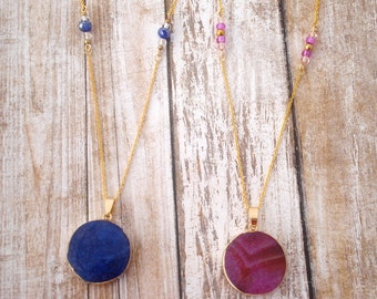 Natural Round Pendant Necklace with Beads