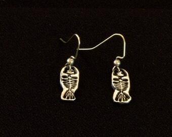 Precious Metal Clay   Fish Bone Earrings   Fine Silver