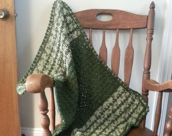 "GREEN And TAUPE Baby Blanket ""FREE Shipping!"""