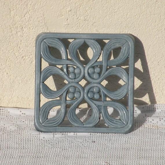 French vintage iron enamel trivet, blue iron trivet, French country home, country cottage, French farmhouse, shabby chic, cottage chic