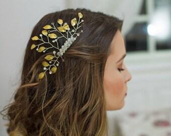 Wedding Leaf Comb, Gold Leaves Bridal Comb, Rhinestone Bridal Comb, Gold Bridal Hair vine, Leaf Hair Piece, Grecian Comb, Bridal Headpiece