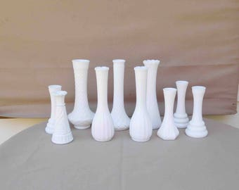 Vintage Lot Of 10 White Milk Glass Vases Collection, Milk Glass, White Bud Vases, Weddings