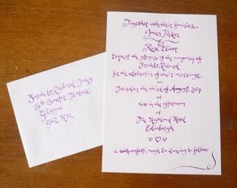 Custom hand-written wedding invite sampler - modern calligraphy on white card with envelope
