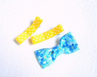 Forget me not hair clip Yellow Blue hair clips Toddler hair clips Floral hair clips Dotted hair clips Gift for toddler Baby non-slip clips