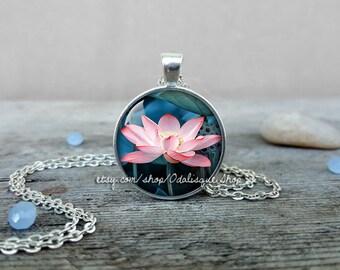 Lotus flower necklace, Lotus flower pendant, Pink lotus pendant, Pink Lotus necklace, Buddhist Lotus Pendant, Spiritual Yoga Gift, CS251
