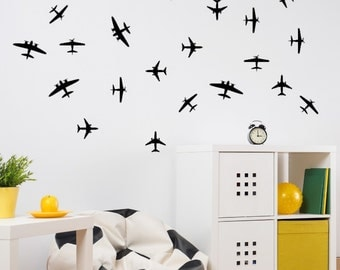Airplane Wall Decals Etsy - Vinyl wall decals airplane