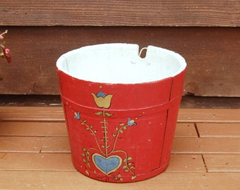Antique Wood Bucket, Primitive Wooden Sap Bucket, Vintage Painted Pail, Wood Sap Bucket, Banded Wood Bucket, Hanging Sap Pail