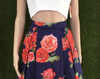 Rose Print Floral Pleated Skirt