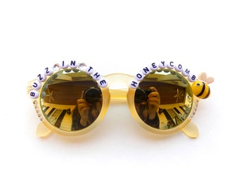 """Phish Yarmouth Road """"Buzz In The Honeycomb"""" sunglasses, hand decorated embellished funky festival shades, Phish Mike Gordon novelty gift"""
