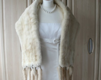 Vintage Real Light Cream Mink Fur Shrug Stole With Easily Removable Tails, Wedding / Opera / Occasion