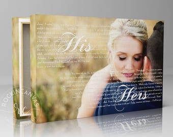 Vows on Canvas/ First Dance Lyrics/ His Hers Vows/ Wedding Canvas Photo Decor Words Vows lyrics/ Anniversary or Wedding Art