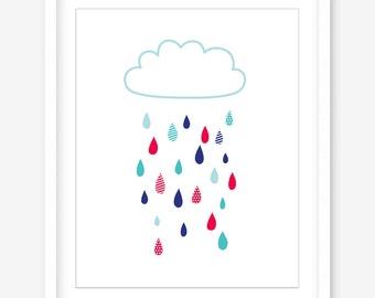Raindrops printable art - printable poster - printable nursery wall art - cloud print - modern wall decor - nursery art - INSTANT DOWNLOAD