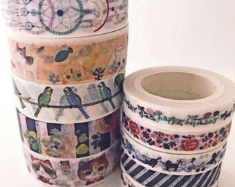 Variety Set 10 ct. Japanese Washi Tape Wide & Skinny Rose Birds Kitten Stripes Dream Catcher Assortment Tapes