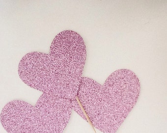 Pink heart glitter cupcake toppers-Pink Heart Glitter cupcake Picks-Valentines party Decorations-Valentines Day Toppers-Heart Party Supplies