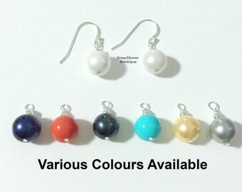 Shell Pearl Earrings-Bridesmaid Earrings-Bridal Earrings-Sterling Silver-Silver Earrings-Navy Earrings-Wedding Earrings-Dangle Earrings