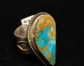 Native American Indian made teardrop shaped Kingman turquoise tufa cast band ring landscape