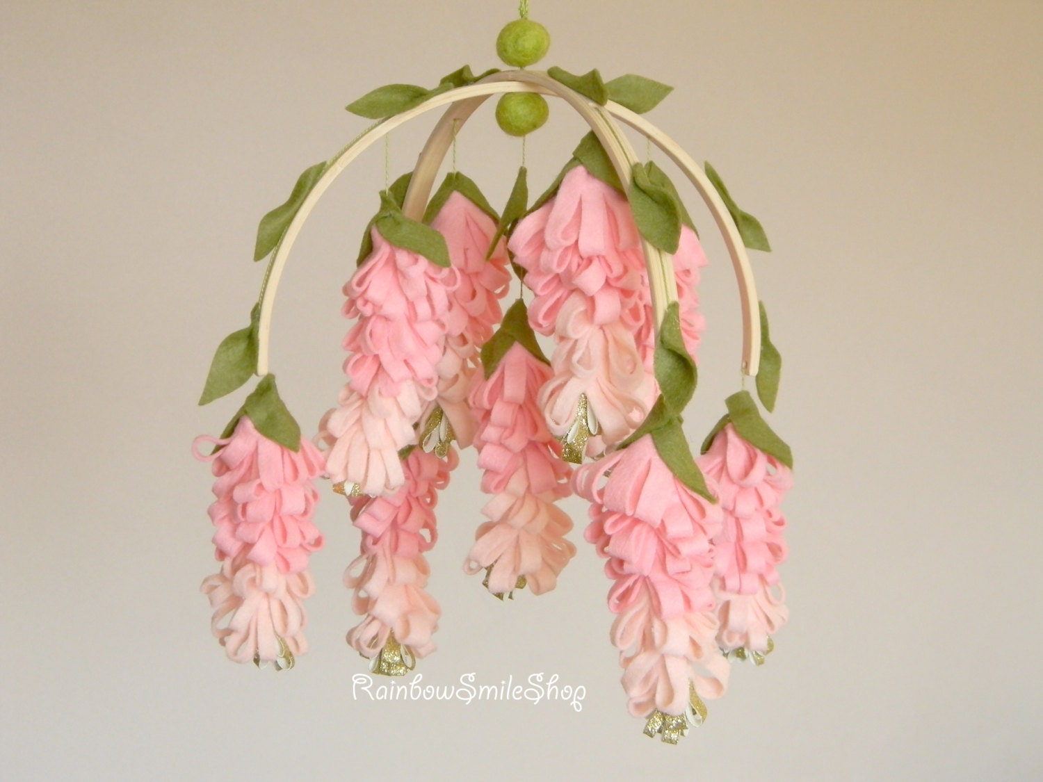 Pink wisteria baby mobile flower mobile baby girl mobile pink for Diy felt flower mobile
