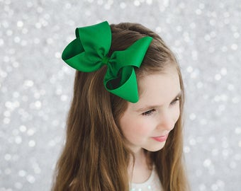 """Boutique Hair Bow, 6"""" Hair Bow, Extra Large Hair Bow, You Choose Your Color, Solid Bow, Everyday Hair Bow,"""